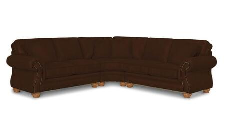 Laramie Collection 5080-1-2-8/8073-87 Three Piece Sectional Sofa with Right Arm Facing Loveseat  Wedge and Left Arm Facing Loveseat in Brown with Attic