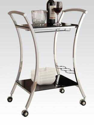 Anker Collection 98128 23 inch  Serving Cart with Metal Frame  Wine Bottle Holder  Mobility Casters  Stemware Rack and Tempered Glass Shelves in Black