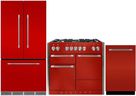 3-Piece Red Kitchen Package with MMCFDR23SCR 36 inch  French Door Refrigerator  AMC48DFSCR 48 inch  Freestanding Dual Fuel Range  and AMCTTDWSCR 24 inch  Fully Integrated