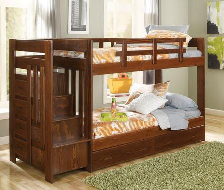 361544-S Twin Over Twin Reversible Stair Bunk Bed with Underbed Storage