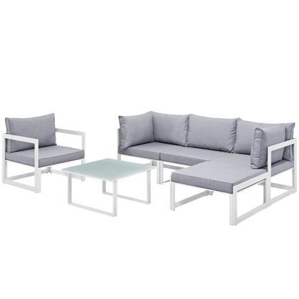 Fortuna Collection EEI-1731-WHI-GRY-SET 6 PC Outdoor Patio Sectional Sofa Set with 2 Corner Chairs  1 Armless Chair  1 Armchair  1 Ottoman  Tempered Glass Top