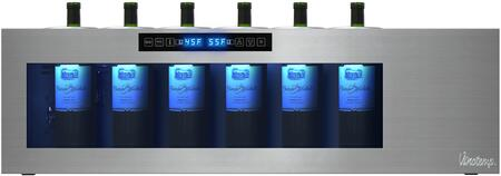 IL-OW006-2Z Il Romanzo 6-Bottle Dual-Zone Open Wine Cooler with Touch Screen Control Panel  Internal Blue LED Display Lights  and Glass Panel Display
