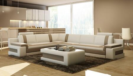 Divani Casa VGEV5083 Modern Bonded Leather Sectional Sofa with Glass Top Coffee Table in White with Brown
