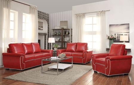Sariel 52170SLR 3 PC Living Room Set with Sofa + Loveseat + Chair in Red