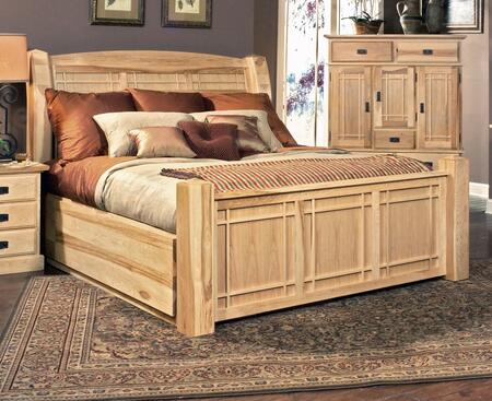 AHINT5171 Amish Highlands Arch Panel Bed with Storage  Full Extension Metal Ball Bearing  Drawer Glides and Cedar Lined storage Drawers in Natural Finish