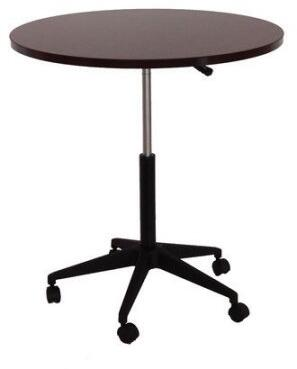 N30-M 32 inch  Mobile Round Table with Height Adjustment  Nylon Base and Wheel Casters in