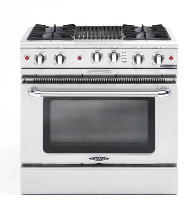 "Culinarian Series CGSR362B2L 36"""" Freestanding Liquid Propane Range with 4 Open Burners  Hybrid Radiant BBQ Grill  Moto-Rotis Rotisserie  and Flex-Roll Oven"" 175990"