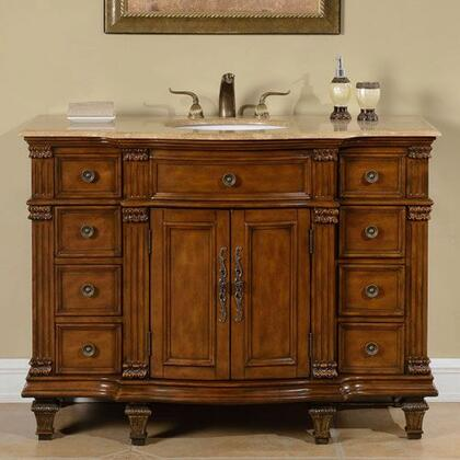 HYP0277TUWC48 48 inch  Single Sink Cabinet with 9 Drawers  2 Doors  Travertine Top and Undermount White Ceramic Sink