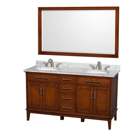 Wcv161660dclcmunrm56 60 In. Double Bathroom Vanity In Light Chestnut  White Carrera Marble Countertop  Undermount Oval Sinks  And 56 In.