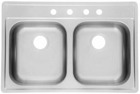 AS127 33x22 Stainless Steel Double Bowl