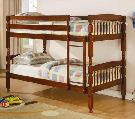 Coral Collection 460223 Twin Over Twin Bunk Bed with Built-In Ladder  Safety Guard Rails and Solid Pine Wood Construction in Medium Brown
