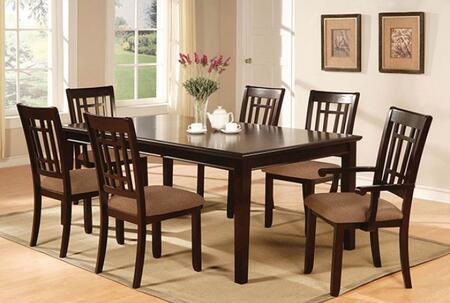 Central Park I Collection CM3100T4SC2AC 7-Piece Dining Room Set with Rectangular Table  4 Side Chairs and 2 Arm Chairs in Antique