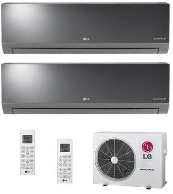 Dual Zone Mini Split Air Conditioner System with 18000 BTU Cooling Capacity  2 Indoor Units  and Outdoor 730298
