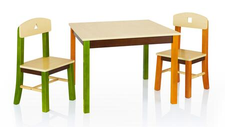 See and Store G98302 1 Table and 2 Chairs Set with Broad Work Table Surface  Double Bolted Table Legs and Angled Chair Legs to Prevent Tipping in Multi