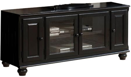 91103 Ferla 58 inch  TV Stand with 4 Doors  Bun Feet  Molding Detail and Wooden Hardware in Black
