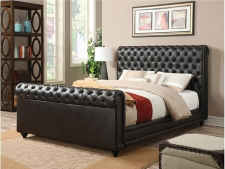 Norris Collection 24367EK King Size Bed with Copper Nail Head Trim  Button Tufting  Wood Legs  Supported Slats and Bycast PU Leather Upholstery in Espresso