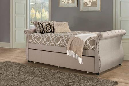 Hunter Collection 2005DBT Twin Size Daybed with Trundle Included  Linen Fabric Upholstery  Backless Sleigh Style Design and Sturdy Hardwood Frame Construction