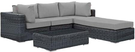 Summon Collection EEI-1904-GRY-GRY-SET 5 Piece Outdoor Patio Sunbrella Sectional Set with Armless Chair  Coffee Table  Ottoman and 2 Corner Sections in Canvas