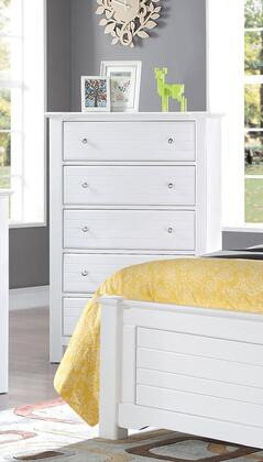Mallowsea 30326 38 inch  Chest with 5 Drawers  Side Metal Glide Drawer  Simple Metal Pulls and Pine Wood Construction in White