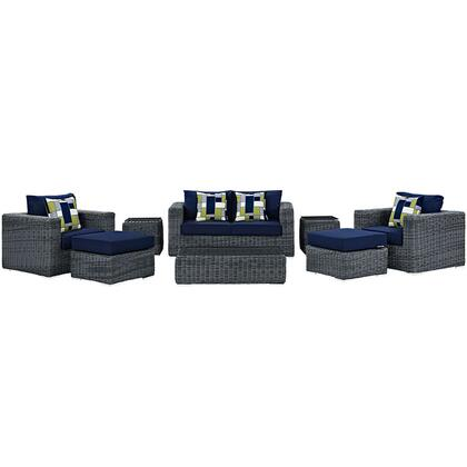 Summon Collection EEI-2389-GRY-NAV-SET 8-Piece Outdoor Patio Sunbrella Sectional Set with Coffee Table  Loveseat  2 Armchairs  2 Ottomans and 2 Side Tables in