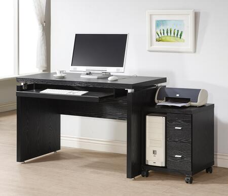 Peel 800821DS 2 PC Office Furniture with Computer Desk + Computer (CPU) Stand in Black