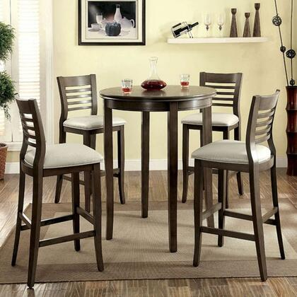 Dwight II Collection CM3988GYBT4BC 5-Piece Dining Room Set with Round Bar Table and 4 Bar Side Chairs in