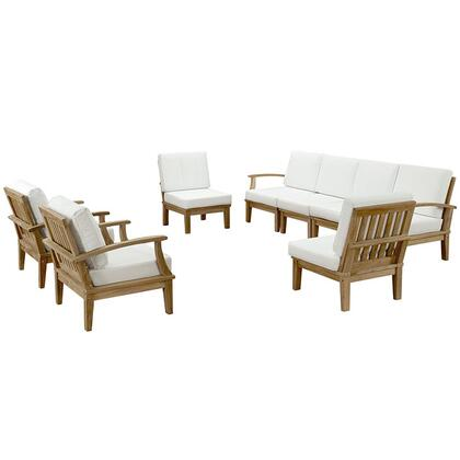 Marina Collection EEI-1817-NAT-WHI-SET 8-Piece Outdoor Patio Teak Sofa Set with Left Arm Sofa  Right Arm Sofa  4 Middle Sofa and 2 Armchairs in Natural and