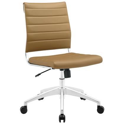 Jive Collection EEI-1525-TAN Armless Office Chair with 5-Caster Dual Wheel Base  Mid-Back Chrome-Plated Aluminum Frame  Tilt Lock Tension Control  Adjustable