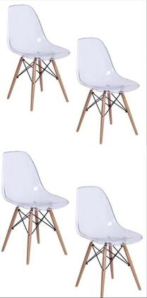 AL10009 Tower Woodleg Clear Chair 18 Inches Seat Width With Transparent