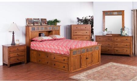 Sedona Collection 2334rosqbdmn 4-piece Bedroom Set With Storage Queen Bed  Dresser  Mirror And Nightstand In Rustic Oak