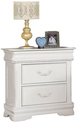 Classique Collection 30129 26 inch  Nightstand with 2 Drawers  Raised Bead Details  Metal Hardware and Pine Wood Construction in White
