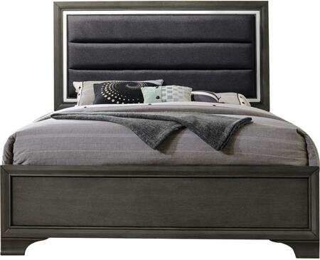 Carine II Collection 26257EK King Size Bed with Low Profile Footboard  Fabric Upholstered Headboard  Solid Rubberwood and Okume Veneer Materials in Grey