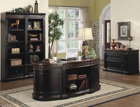 80092124 Package Including Nicolas Traditional Oval Executive Double Pedestal Desk  File Cabinet  and Combination Bookcase in Dark Wood