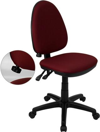 WL-A654MG-BY-GG Mid-Back Burgundy Fabric Multi-Functional Task Chair with Adjustable Lumbar