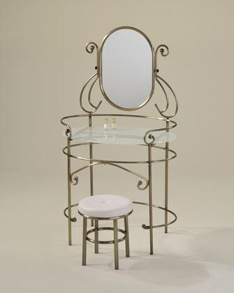 Juliet 90140 32 inch  Vanity Set with Vanity  5mm Mirror  5mm Frost Tempered Glass Top  Round Stool  PU Leather Seat and Polished Edge in Antique Brass
