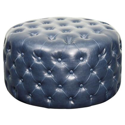 Lulu Collection 353616B-V05 Round Ottoman with Solid Wood Construction  Button Tufted Details and Bonded Leather Upholstery in Vintage