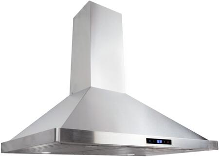 63190S-CFM 36 inch  Wall Mount Chimney Range Hood with 380 CFM  3 Speed Control  LED Lighting and Dishwasher Safe Baffle Filters  in Stainless
