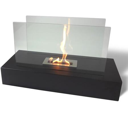 Fiamme NF-F3FIE 31.5 inch  Vent Free Freestanding Bioethanol Fireplace with Tempered Glass Wind Screen  High Heat Powder Coated Base and Adjustable Dampener in