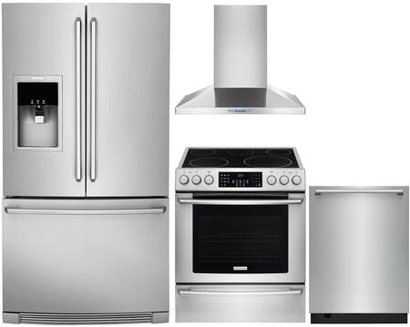 """Electrolux 4 Piece Kitchen Appliances Package with EW23BC87SS 36"""" French Door Refrigerator  EI30EF45QS 30"""" Electric Range  RH30WC55GS 30"""" Wall Mount Hood and"""