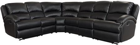 Capri Collection Sectional Sofa with Sinuous Seat Springs  Grade Deluxe Foam Cushion  Split Back Cushion and Leather Air Upholstery in Black