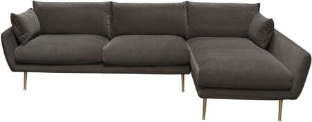 """Vantage_Collection_VANTAGERF2PCSECTGR_113""""_Sectional_Sofa_with_Plush_Fabric_Upholstery__Slim_Metal_Legs_and_Feather_Down_Seat_Cushions_in_Iron"""