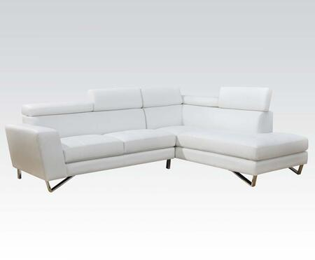Irwin Collection 51340 Sectional Sofa with Metal Legs  Adjustable Headrests  Track Arms and Bycast PU Leather Upholstery in White