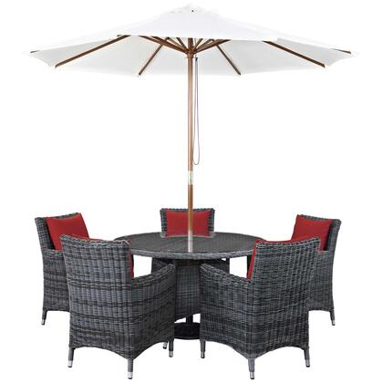 Summon Collection EEI-2328-GRY-RED-SET 7 PC Outdoor Patio Sunbrella Dining Set with 5 Armchairs  Square Dining Table and Umbrella in Canvas Red