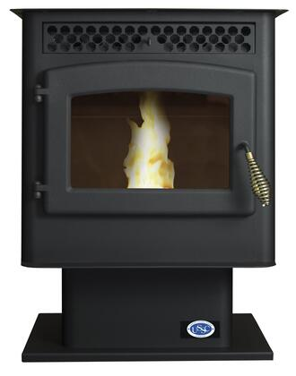 5040 45 lbs Hopper Capacity Small Pellet Stove with Large Viewing Window Air Wash Glass and a 4 Heat Setting Digital Control