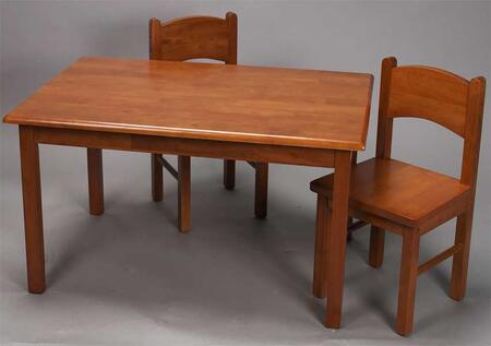 1406H Natural Hardwood Rectangle Table and Set of Two Chairs with Simple Design and Lightweight in