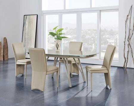 D2177DT4D6605DC-TAUPE 5-Piece Dining Room Set with Dining Table and 4 Dining Chairs in Champagne and