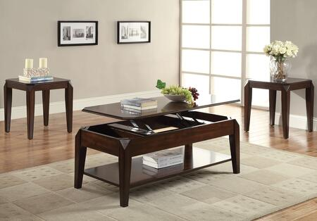 Docila 80660CE 3 PC Living Room Table Set with Coffee Table + 2 End Tables in Walnut