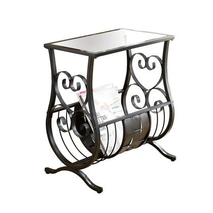 I 3314 Accent Table - Satin Black Metal with Tempered