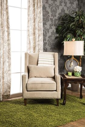 Tomar CM-AC6115IV Accent Chair with Contemporary Style  Wingback Design  Nailhead Trim  Pillows Included in