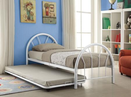 Silhouette Collection 30450TWHTRN Twin Size Trundle Bed with Fanback Design  Slat System Included  Metal Frame  Side Rails and Slats Included in White